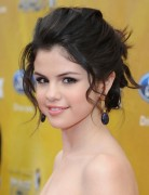 Selena Gomez Hairstyles: Updo with Bangs