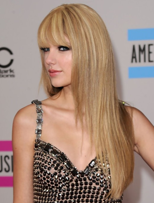 Taylor Swift Hairstyles: Blunt Wispy Bangs