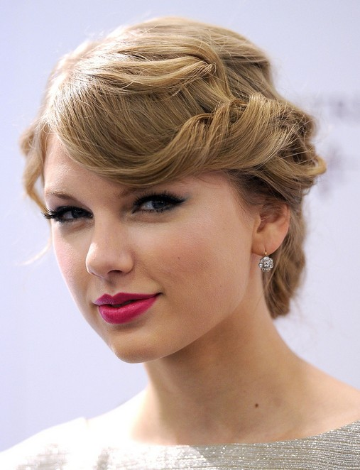 Taylor Swift Updo Hair Styles: Curly Side Swept Bangs