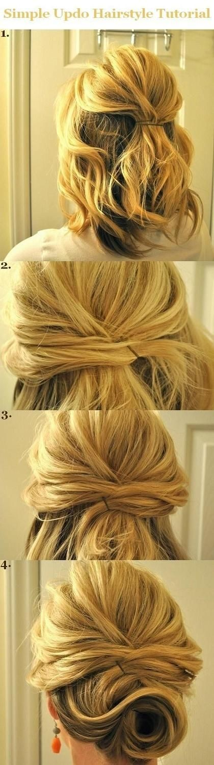 Updo Hairstyles Tutorials for Medium Hair: Simple Half Updos for 2014