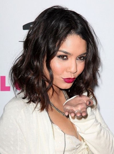 Vanessa Hudgens Medium Hairstyles: Layered Wavy Haircut