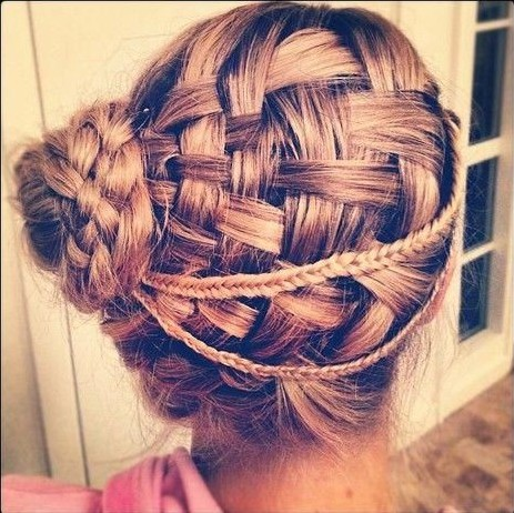 2014 Braided Updo Hairstyles for Prom: Basket weave updos