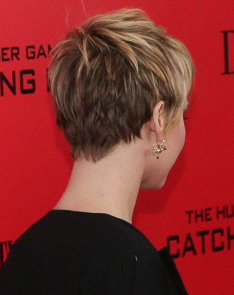 Hairstyles for Round Faces: Jennifer Lawrence Short Hair Back View