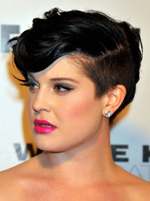 2014 Short Hairstyles for Round Faces: Kelly Osbourne Pixie Haircut