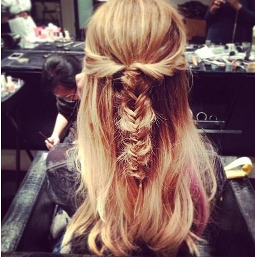 Braided Hairstyles: Beach Hair, Messy Half Up Scrunched Fishtail in the Back