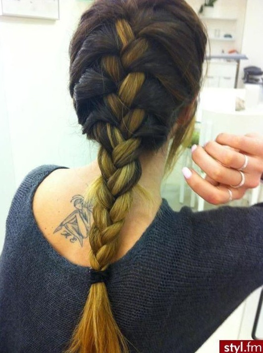Braided Hairstyles: Dark Ombre, French Fishtail Braid for Thick Hair