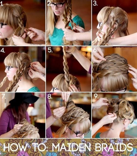 Braids Updo Hairstyles Tutorial: How To Style Maiden Braids