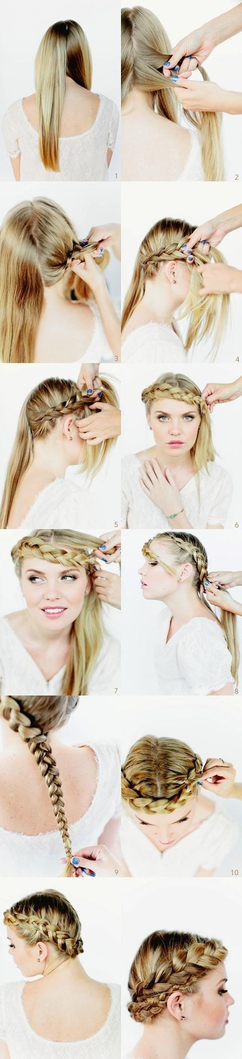 Crown Braided Hairstyles Tutorials: Long Hairstyle