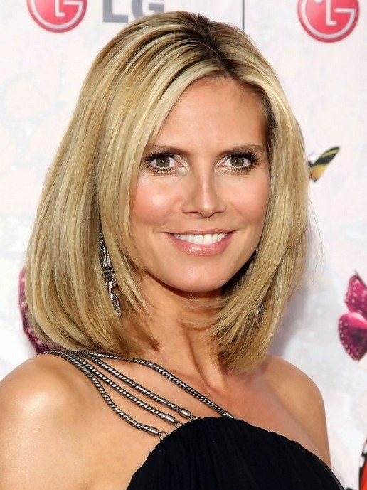 Heidi Klum Hairstyles: Straight Long Bob Haircut