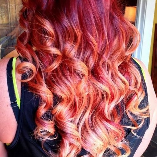 Long Curly Hairstyles 2014: Long hair with red highlights