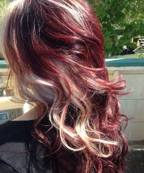 Long Curly Hairstyles 2014: Red hair with blonde highlights