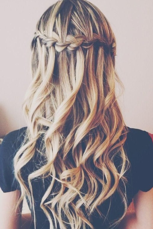 Curly Hairstyles With Waterfall Braids Waterfall Braid Into Curly