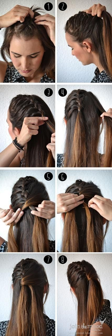 Ponytail Hairstyles Tutorials: Fun Half Fishtail Hairstyle