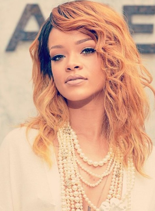 Rihanna Hairstyles: 2014 Blonde Hair with Black Highlights