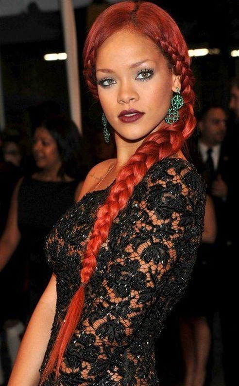 Rihanna Hairstyles: Chic Side Braids