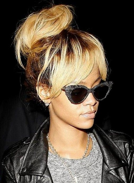 Rihanna Hairstyles: Messy High Bun