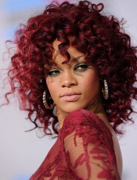 Rihanna Hairstyles: Red Medium Length Hairstyle for Curly Hair