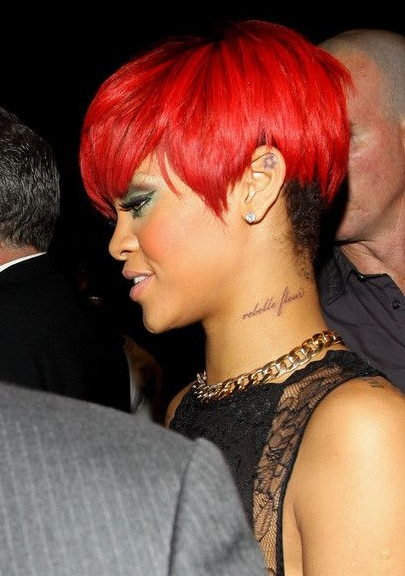 Rihanna Short Hairstyles: Super Short Red Pixie Haircut