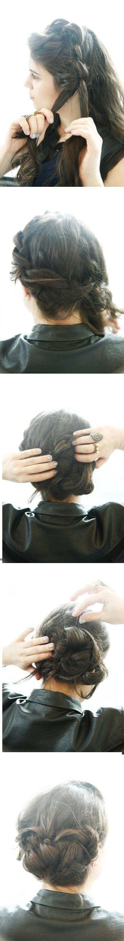 Updo Hairstyles Tutorials: Big Braids Bun Updos