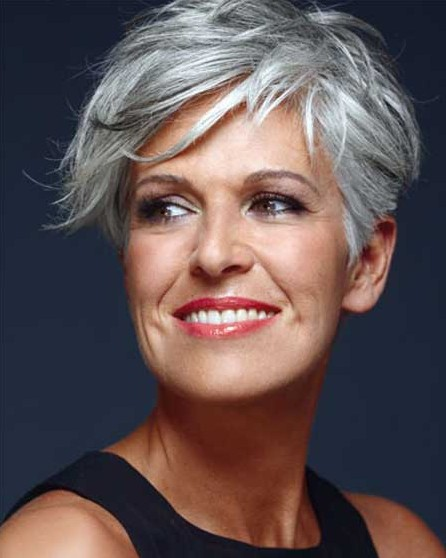 Great Short Hairstyles for Older Women: Pixie Haircut with Long Bangs