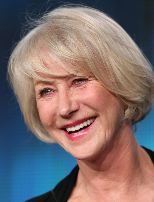 20 Short Hairstyles for Older Women: Helen Mirren Straight Bob Haircut