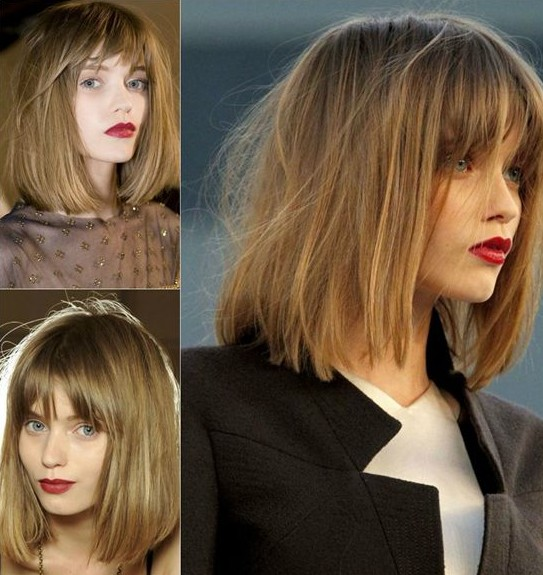 Short Hairstyles for Winter: Long Bob for Fine Hair / Source