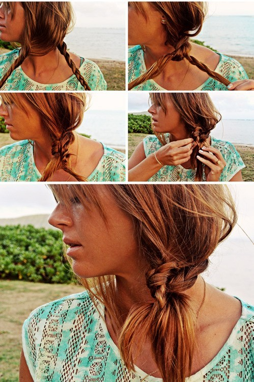 Beach Hairstyle Ideas: Knotted Braid Side Ponytail Hairstyle ...