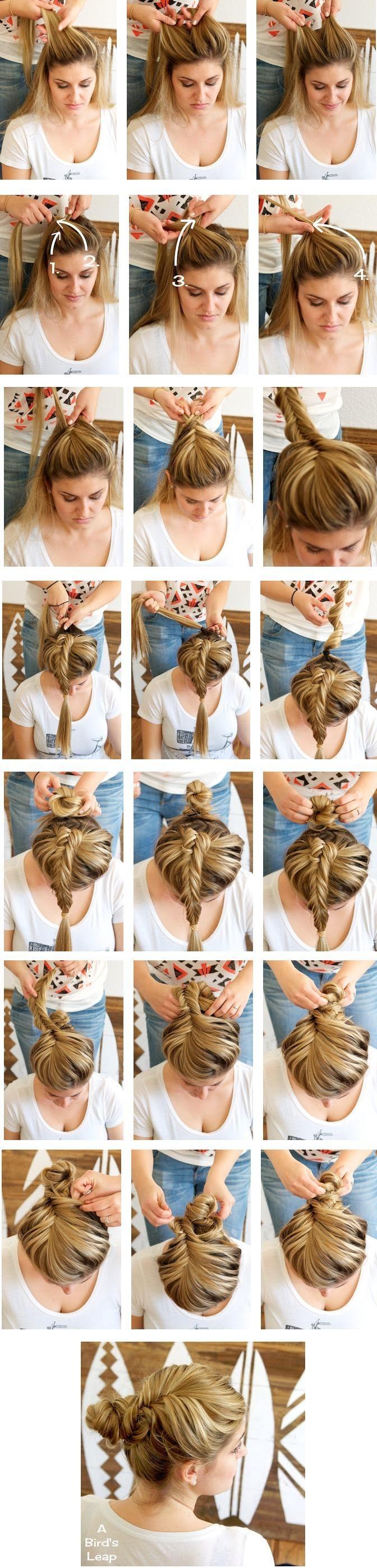 Fishtail Braided Bun Hairstyles Tutorial: Girl Hairstyles for Long Hair