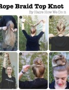 High Bun Updos Tutorials: Rope Braid Top Knot