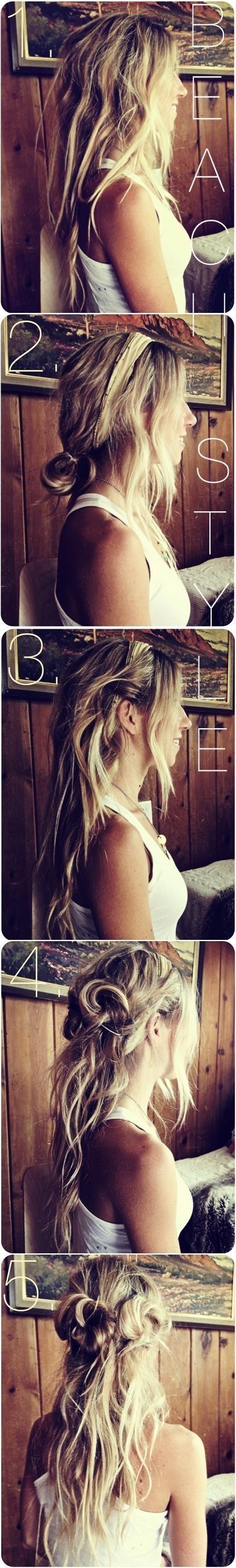 Long Hair Tutorials: Cute Messy Beach Hairstyles