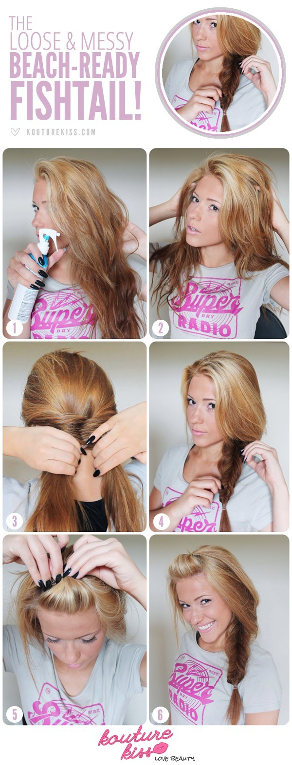 Side and Messy Fishtail Braid Tutorial: Strandfrisuren