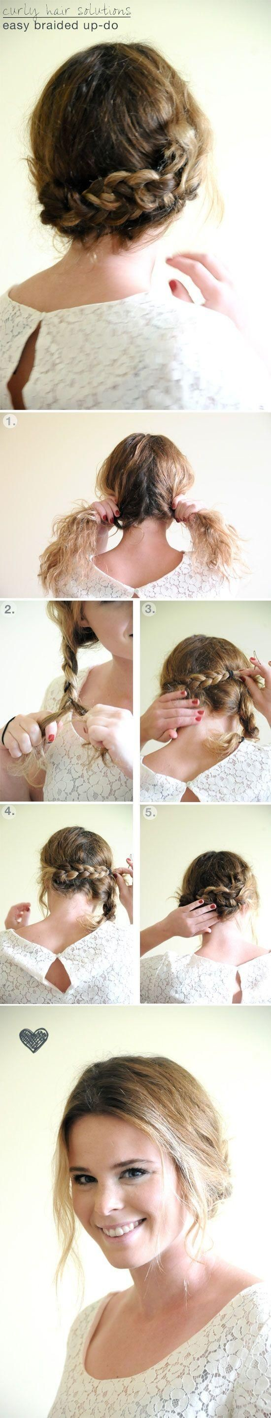 Simple Braided Updo Hairstyles Tutorial: Updos for Medium Hair/ Via