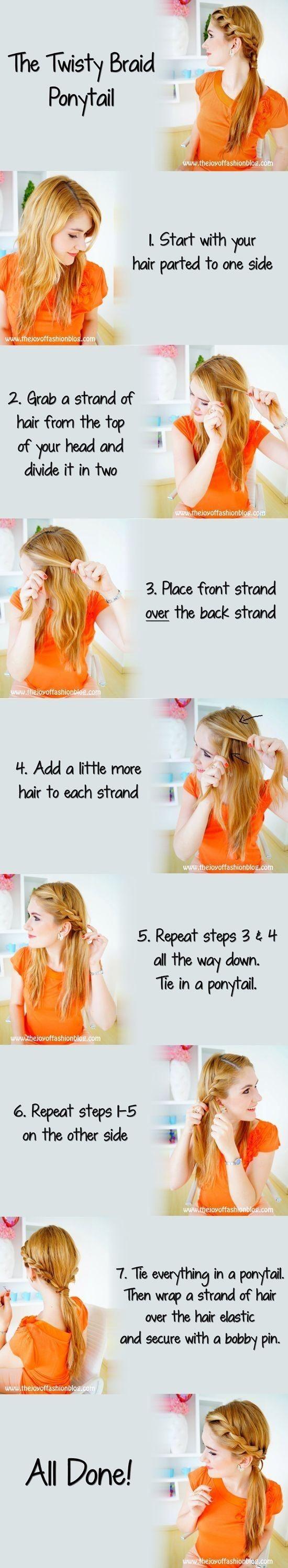 Summer Hairstyles Ideas 2014: Twisty Braid Ponytail Hair Style Tutorials