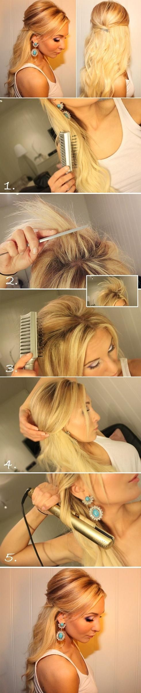 Teased Half Up Half Down Hairstyle Tutorial Easy Prom