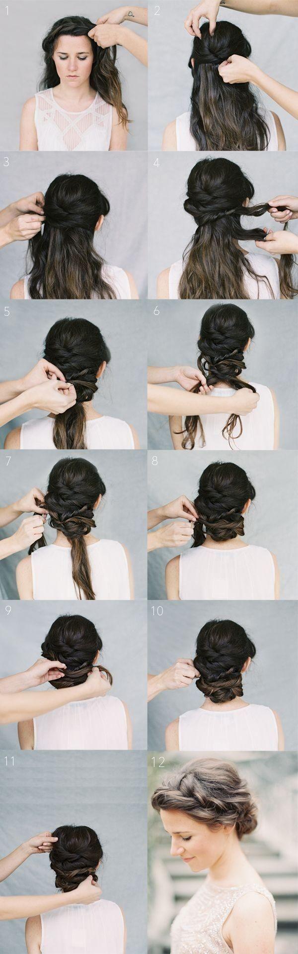 twist updo hairstyles with braids: wedding hairstyles tutorial