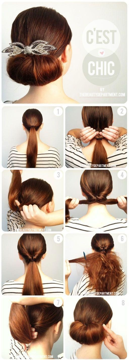 Twisted Flip Bun Updos Pictures Tutorial: Easy Updo Hairstyle