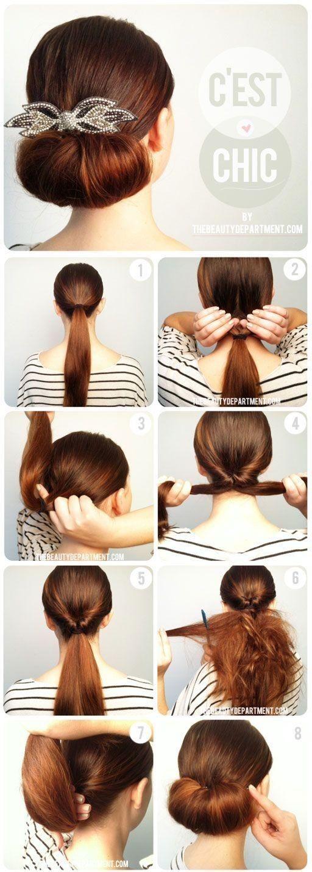 Peachy Twisted Flip Bun Updos Pictures Tutorial Easy Updo Hairstyles Short Hairstyles Gunalazisus