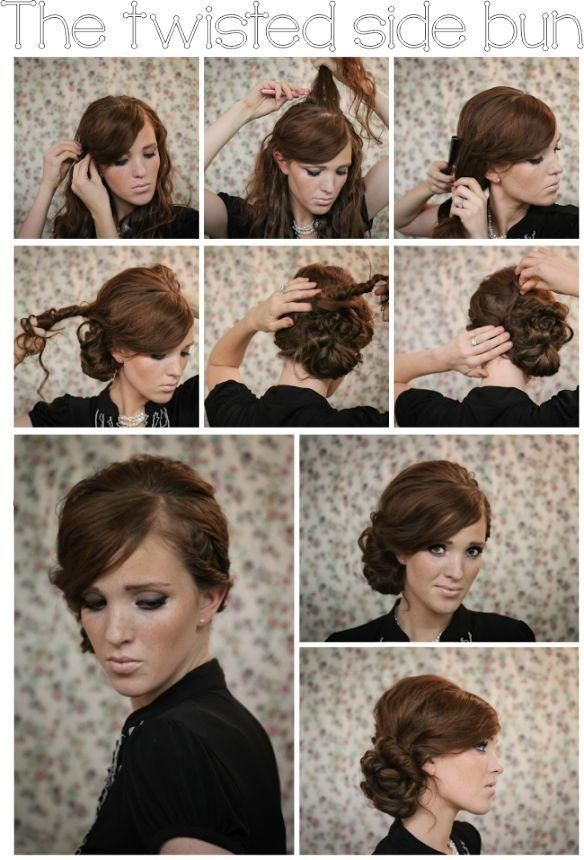 Twisted Side Bun Updo Hairstyles Tutorials