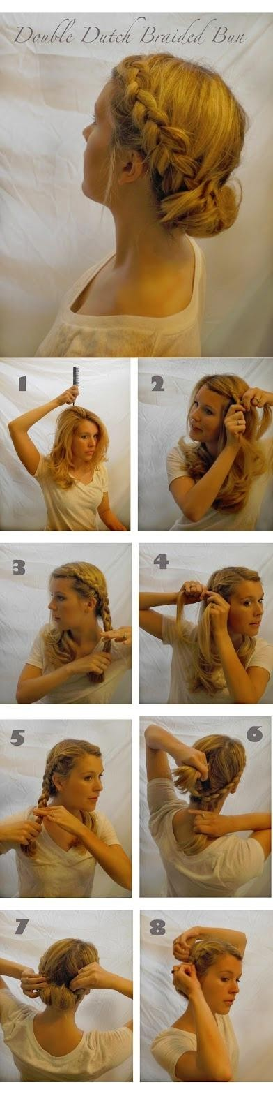 Updo Hairstyle Tutorial: Double Dutch Braided Bun Updos
