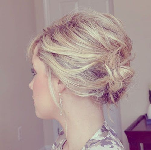 2014 Messy Updo Hairstyle for Short Hair