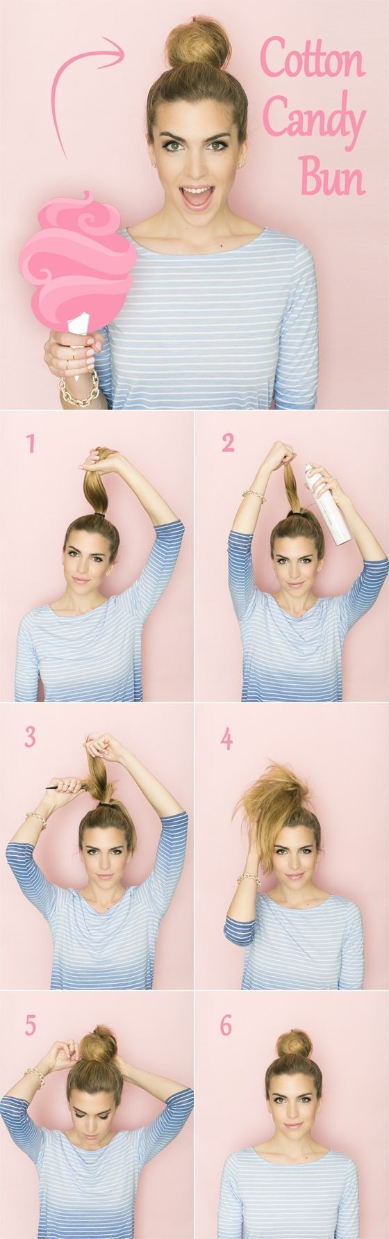 Cotton Candy Bun Tutorial: High Bun