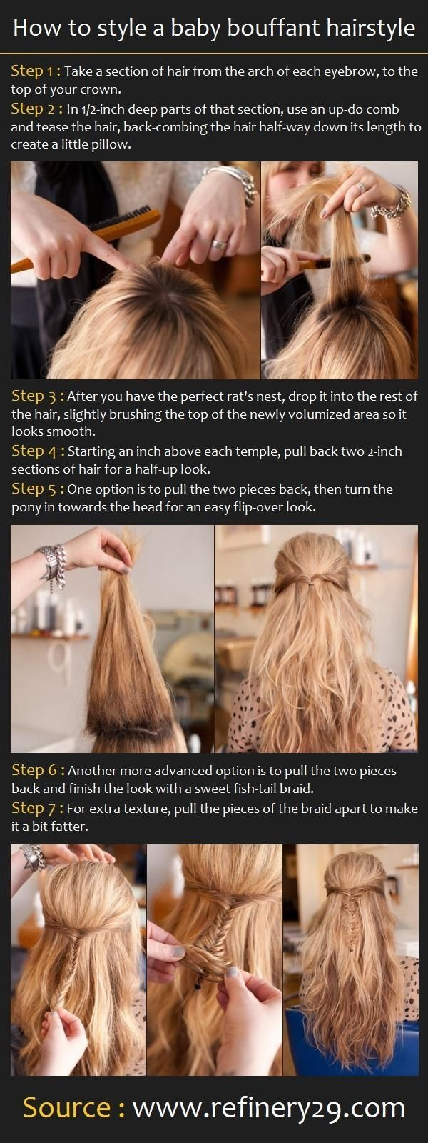 Cute Diy Hairstyles for School: Bouffant Hairstyle