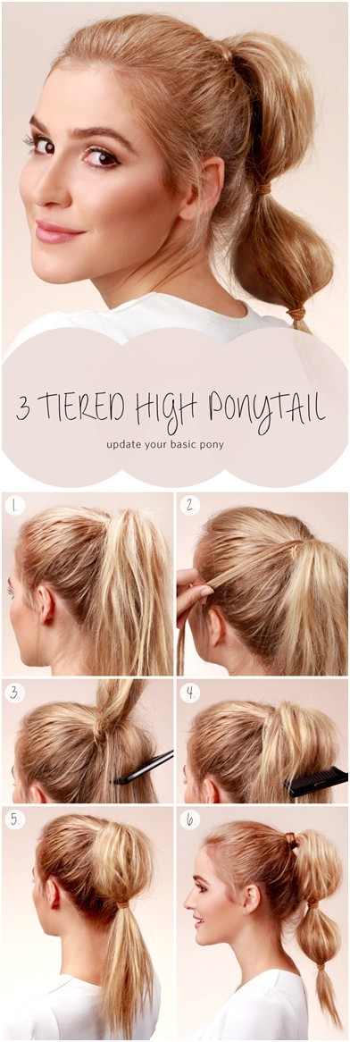 Cute Everyday Hairstyles Tutorials: 3 Tiered High Ponytail