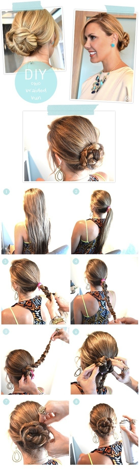 Step by step hairstyles for long hair long hairstyles ideas diy chic braided bun hair tutorial easy updos for long hair solutioingenieria Image collections