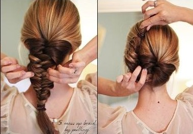 French Fishtail Braid Updo: Braided Hairstyle Tutorial ...