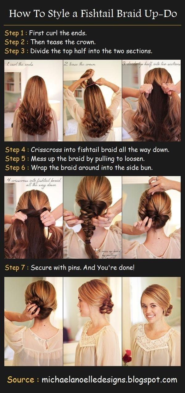 French Fishtail Braid Updo: Braided Hairstyle Tutorials