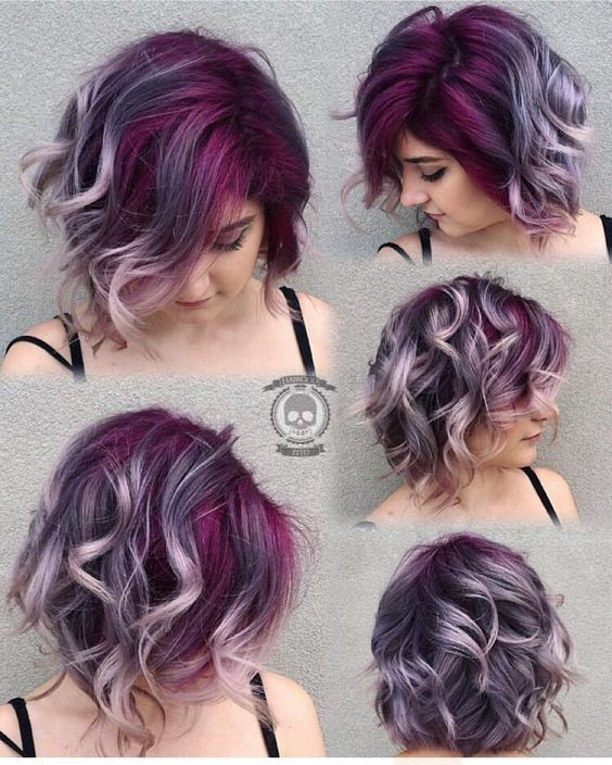 Gorgeous Deep Purple Lavender Silver Gray Hair Color - Short Curly Hairstyles