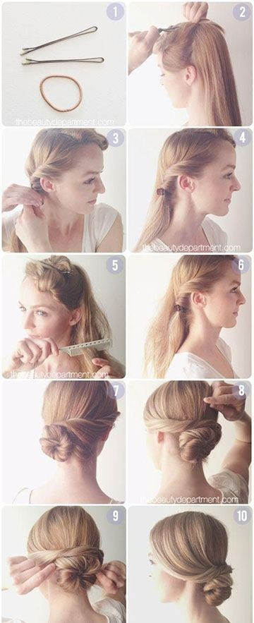 Do it yourself updo hairstyles for short hair hairstyles hair tutorials diy easy bun updos 15 cute hairstyles step by for long hair solutioingenieria Gallery