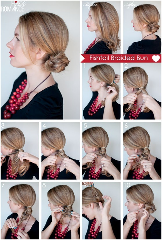 How to Fishtail Braided Bun Hairstyle: Everyday Hairstyles Tutorials