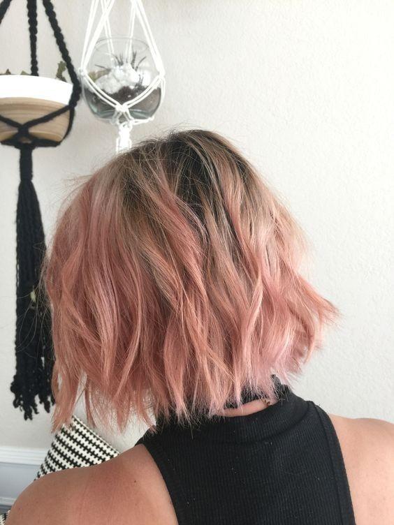 Loose Short Hair Styles - Bob Haircut with Pink Color